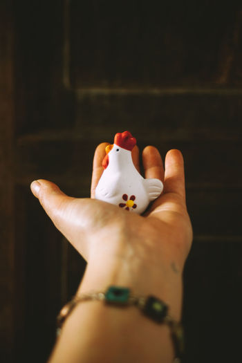 Close-Up Of Woman Hand Holding Toy Chicken