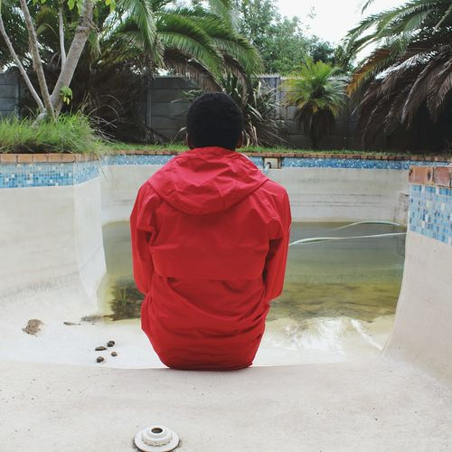 ⛅🍁 Poolside Winter Red Hoodie