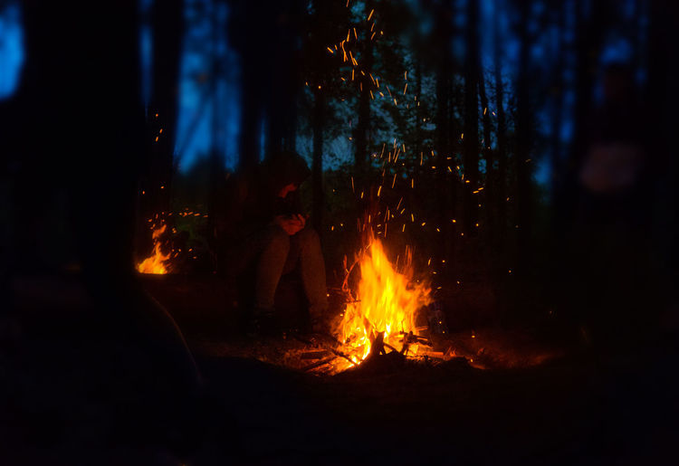 Camp Fire Camping Bonfire Burning Campfire Close-up Flame Heat - Temperature Men Nature Night Outdoors People Real People Togetherness Tree Two People Camp