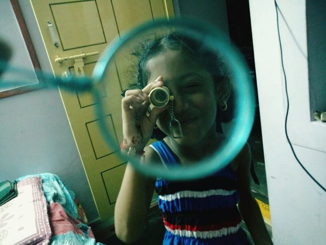 Funny Look Into The Glass Magnifying Glass Playing With Kids Funny Girl , Glass, Kids Play, Kids Playing