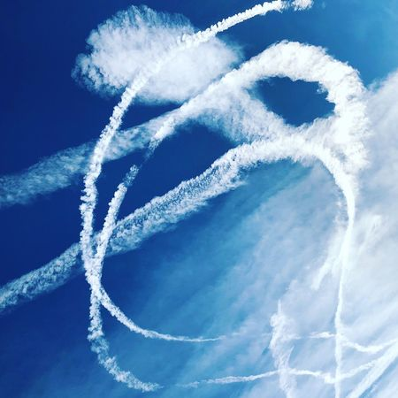 art in the air... Vapor Trail Blue Low Angle View Sky Day No People Beauty In Nature Outdoors Airplane