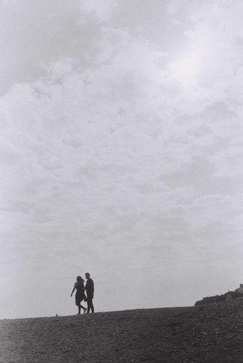 Monochrome Photography Film 135film United Kingdom Seven Sisters Couple Black And White Love Walking Walk Breeze Relationship