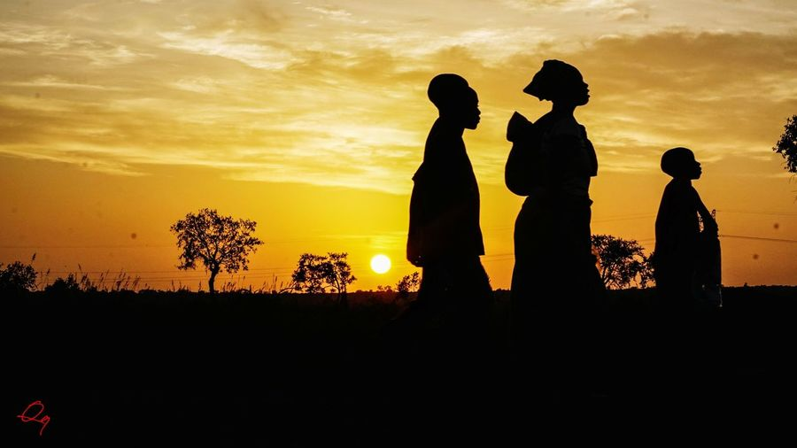 sunset silhouette Sundown Silhouette Sunset Silhouette Sunset Togetherness People Outdoors Sky Day