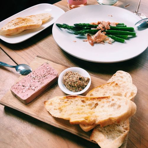 Liver mousse, asparagus, bread, yum! EyeEm Selects Food And Drink Food Plate Freshness Indoors  Table