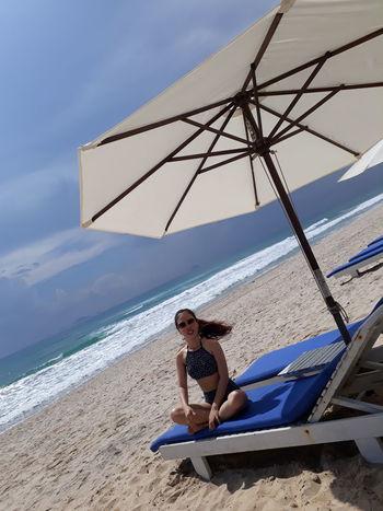 Water Sea Full Length Beach Young Women Sand Summer Sport City Sitting Swimming Trunks Swimwear Beach Holiday Bikini Sunbathing