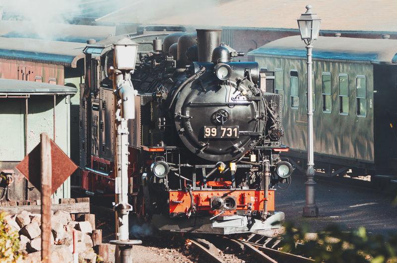 Train on railroad tracks