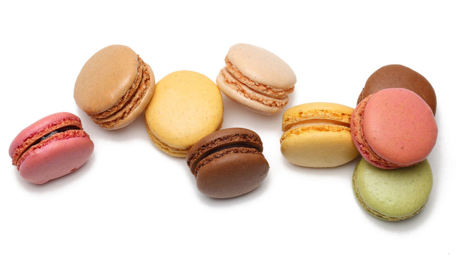 Macarons Dessert French Food Culture Macarons Macaroons Bird's Eye View Colorful Cut Out On White Dessert Food Food And Drink French Food Freshness Macaroon Ready-to-eat Studio Shot Sweet Food Temptation Traditional Food White Background