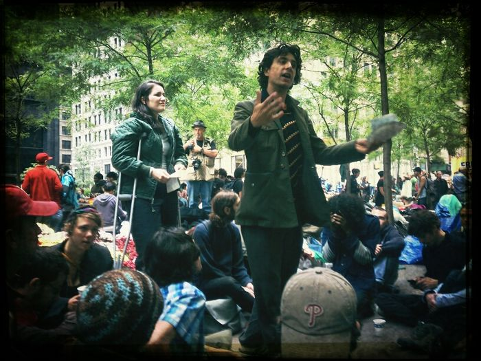 Being instructed in Zuccotti Park (aka Freedom Park) in NYC. October 1st 2011