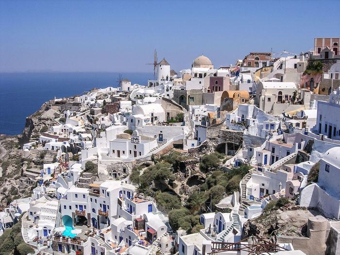 High angle shot of santorini cityscape