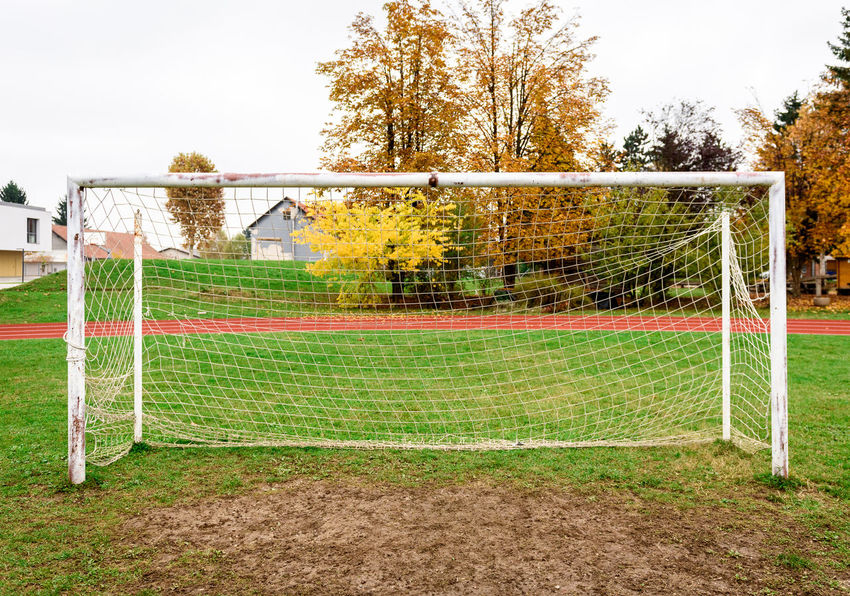 Football Goal Weathered Day Dirty Football Goal Goal Post Grass Muddy Nature Net - Sports Equipment Old Outside Playing Field Rusty Soccer Soccer Field Soccer Goal Sport Sports Equipment Team Sport Tree