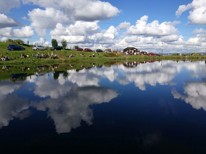 People And Places Hamilton Quarter Fishery 02.10.16 Water Reflection Sky Cloud - Sky Tranquil Scene Cloud Blue Beauty In Nature Nature Cloudy Standing Water Scenics Water Reflection Sky Cloud - Sky Tranquil Scene Cloud Scenics Waterfront Tranquility Blue Lake
