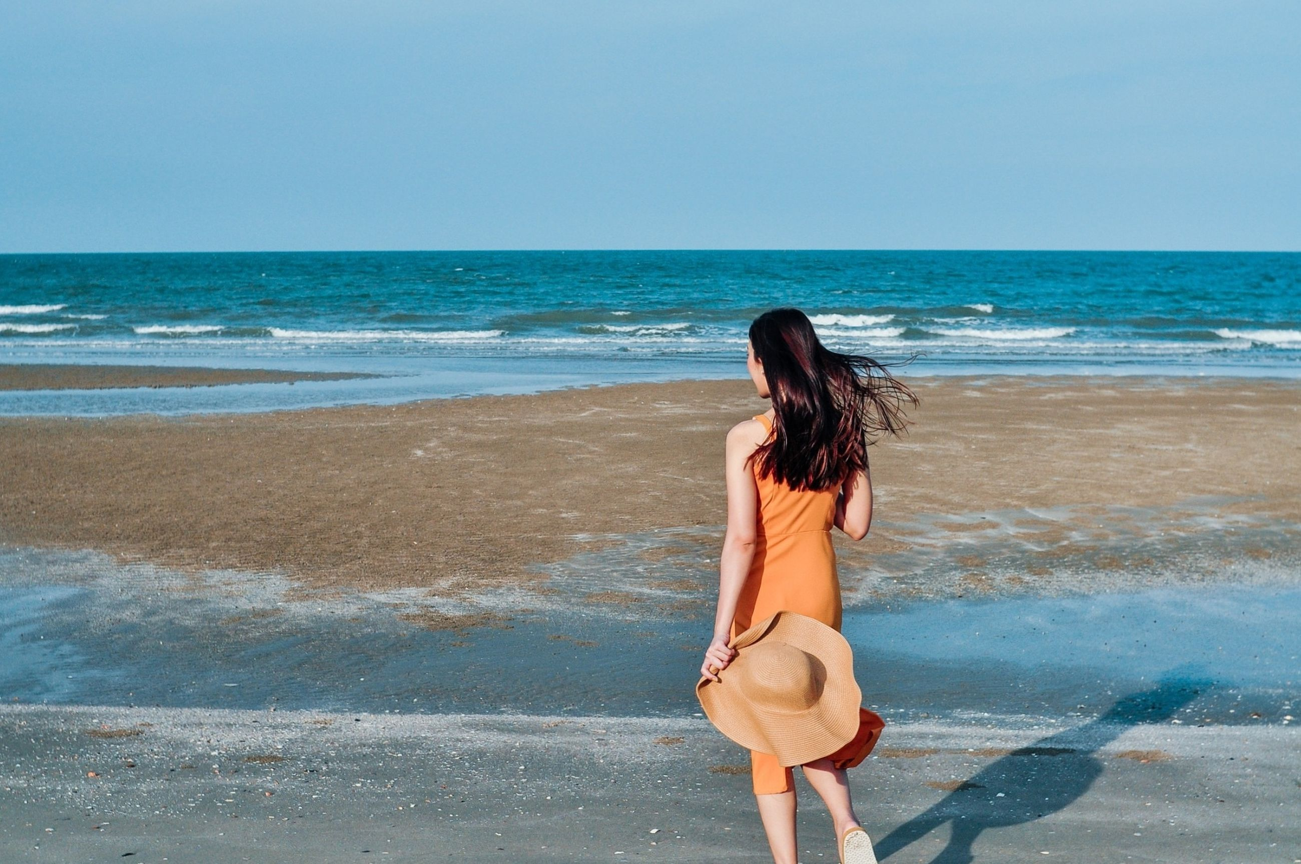 sea, water, beach, land, one person, vacation, horizon over water, sky, ocean, horizon, women, shore, nature, long hair, adult, hairstyle, full length, body of water, rear view, wave, beauty in nature, leisure activity, young adult, holiday, clothing, blue, sand, trip, coast, day, standing, lifestyles, walking, motion, scenics - nature, fashion, casual clothing, tranquility, sunlight, person, sunny, outdoors, clear sky, summer, tranquil scene, relaxation, solitude, travel, brown hair, dress, idyllic, female, copy space, human leg, travel destinations, looking
