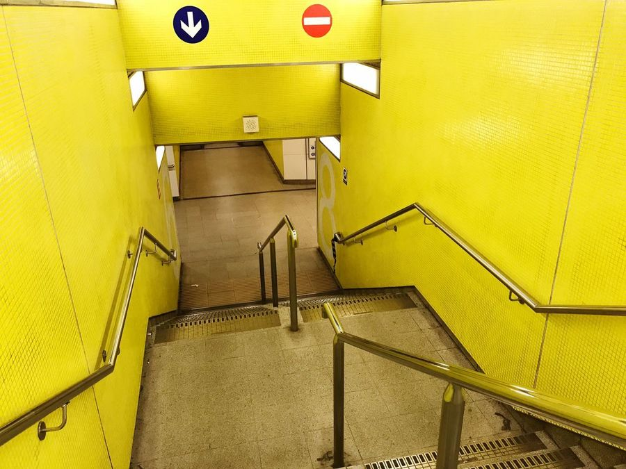 Stairs Metro Yellow No People Indoors  Day Close-up
