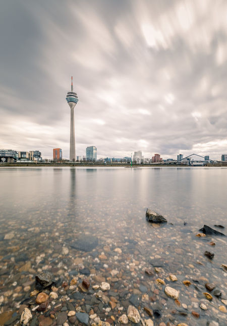 I ❤️ Düsseldorf Düsseldorf EyeEm Best Shots EyeEm Selects EyeEm Gallery EyeEmNewHere Reflection Rhein Skyline Architecture Building Exterior Built Structure City Cityscape Cloud - Sky Day Long Exposure Medienhafen No People Outdoors Rheinturm  Sky Tourism Travel Destinations Water