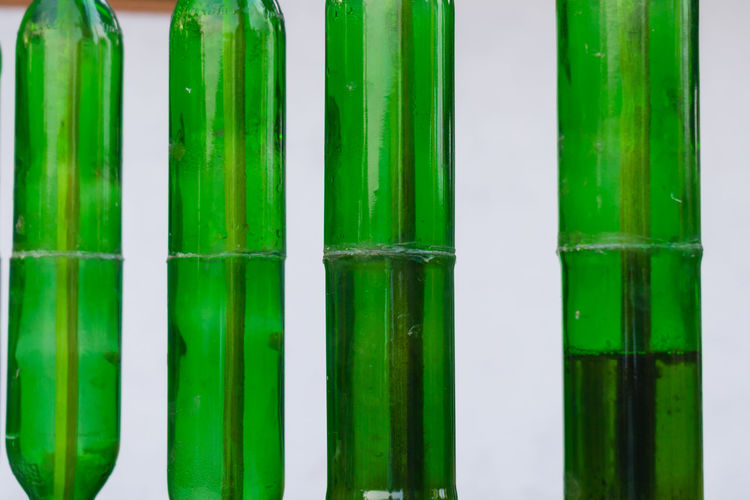 Full frame shot of green bottles
