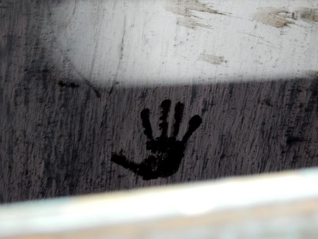 :Goodbye :Wait! Left a mark? :Yup. A permanent one Human Hand Day Fingerprint Ink Outdoors No People Coolpix Nikon L830 Wall Mark Travelphotography Train Tunnel
