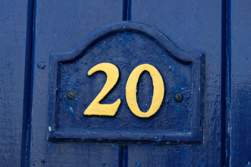 20 Numbers Only Blue Door Numbers And Letters Numbers And Signs Twenty Yellow And Blue