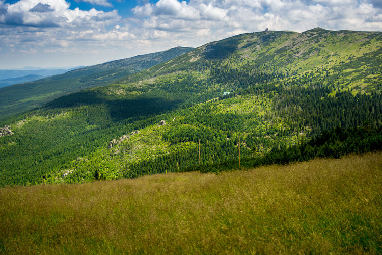 A landscape in the Karkonosze mountains in Poland. Beauty In Nature Green Color Karkonosze Landscape Mountain Mountain Range Mountains Nature Scenics Sniezne Kotly Tranquil Scene Tranquility