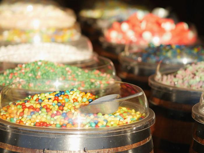 Multi colored desserts in container