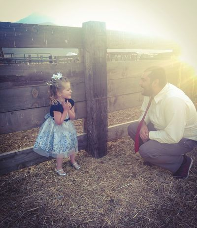Father Fatherdaughter Exciting Day!!! Dressup Fatherhood Moments Child Sunlight Childhood Shining Sun Young Family Sunset