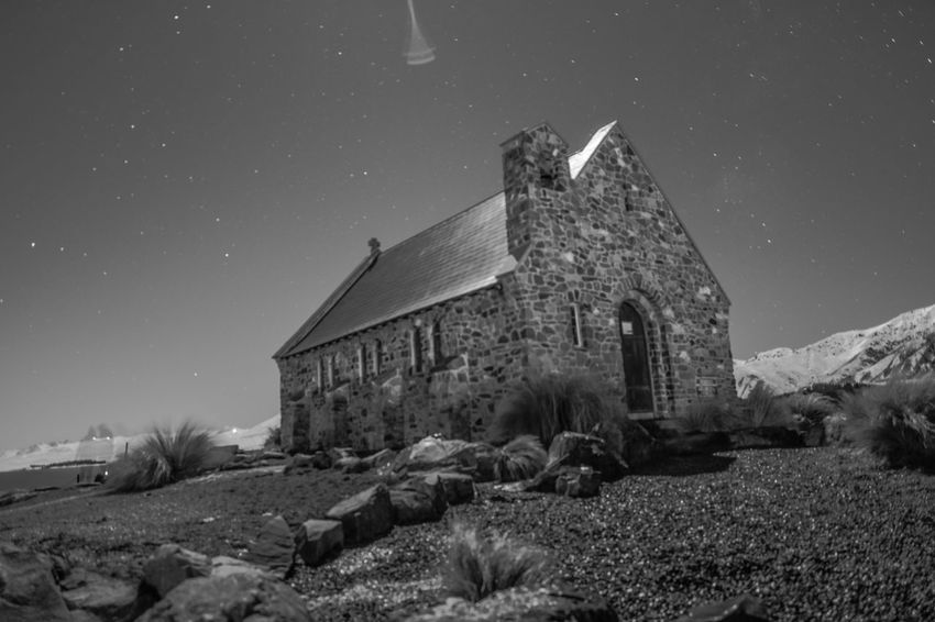 The church of the good shepherd Night Building Exterior Church Architecture Nikon Astronomy Old Ruin Nikon D7200 Built Structure Architecture Sky Abandoned House Damaged Destruction Outdoors No People Snow Star - Space