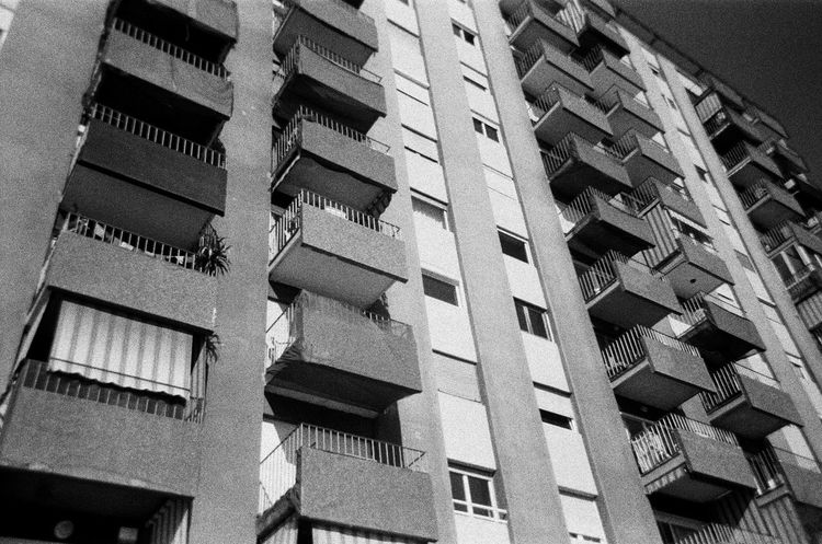 Film Apartment Architecture Balcony Black And White Blackandwhite Building Exterior Built Structure Day Film Photography Low Angle View No People Outdoors Window