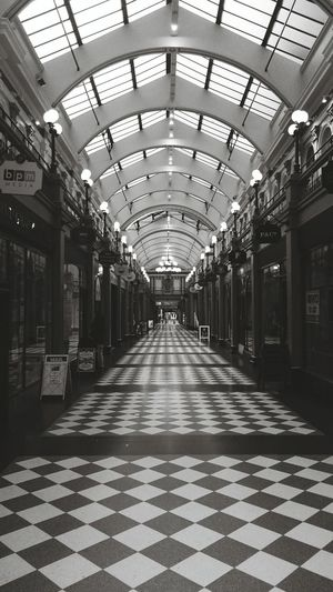 Bristol Arcade Mall Bristol Bristol, England Blackandwhite Black And White Passage Architecture Artdeco Old Karo Tiles Tiled Floor Glass Glass - Material Hallway Roof The Architect - 2016 EyeEm Awards