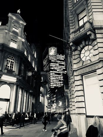 Black And White Friday Architecture Built Structure Outdoors City London Streets @ Night Building Exterior Night