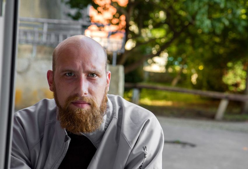 Beard Concentration Baldhead Bald Summer Job Window