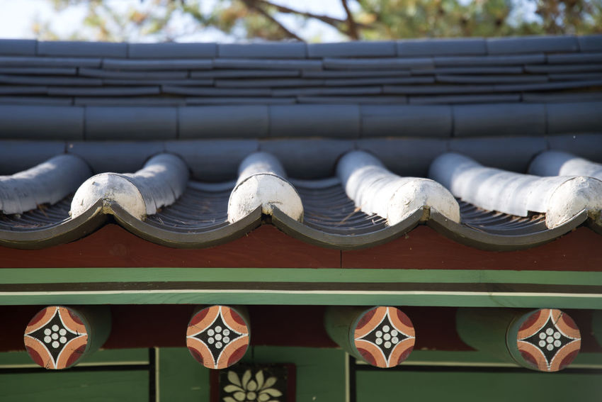 autumn landscape of Jangleung in Yeongwol, Gangwondo, South Korea. Jangleung is one of the royal tombs of Joseon Dynasty in Korea. Autumn Gangwondo Jangleung Roof Yeongwol Close-up Day Eaves In A Row No People Outdoors Roof Tile