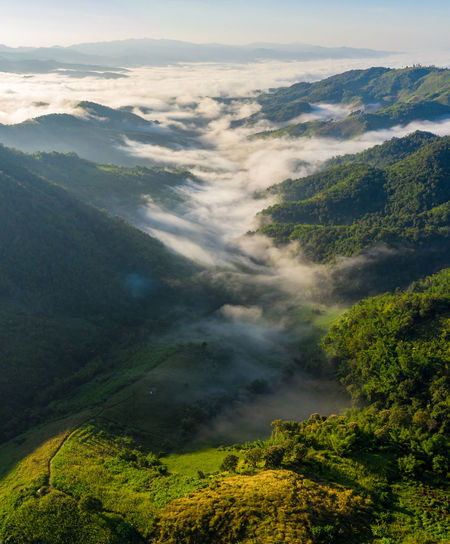 Panorama landscape nature aerial view at morning on the mountain fog chiang rai thailand