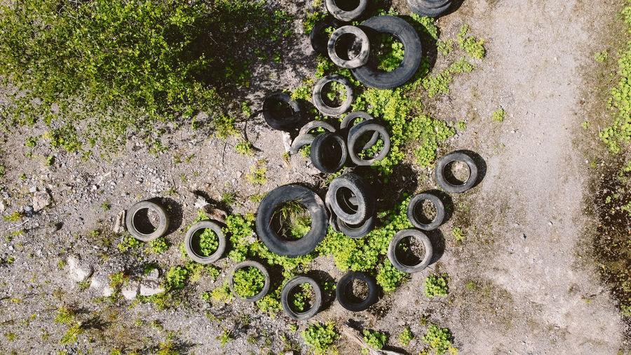 Rusty metal grate on field