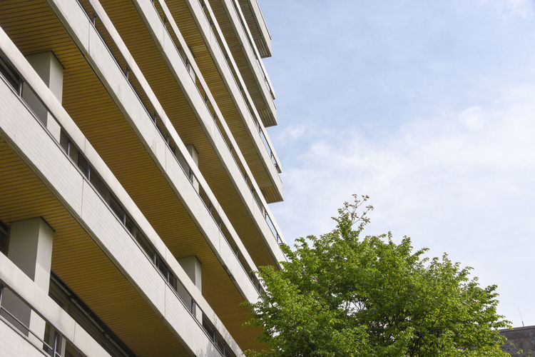 Architecture Construction Living Culture; Modern Architecture Syk; Balcony; Blue Sky Skyscrapper Tree:나무