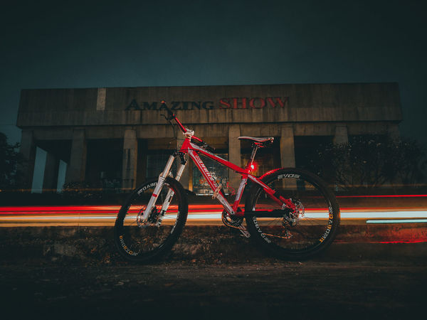Mountain Bike Mountain Biking MTB Dabomb Light Trails Light Trail Bike Land Vehicle Mode Of Transport Transportation Bicycle Night Stationary Outdoors Architecture No People Sky
