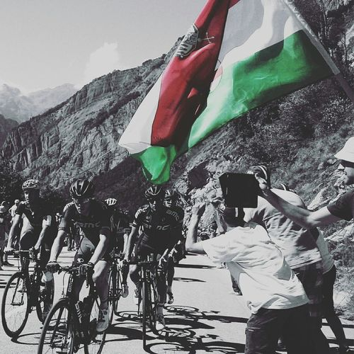 Letour Letourdefrance Letourdefrance2015 Hungarianpride Heroesofthepresent Frenchisms Hungarians Mountains Mountainsarecalling Themountainsarecalling Roadslikethese Alpes Alpedhuez Alpe D'huez Cycling Cyclist Crowd Crowded Cheeringzone Hungarianflag Red-white-green The Photojournalist - 2016 EyeEm Awards
