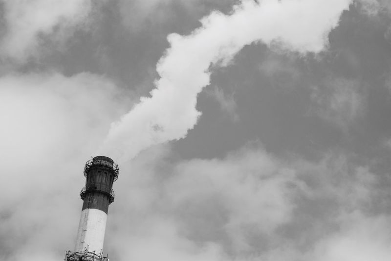 Sky Day Smoke Stack Cloud - Sky Low Angle View Industry Blackandwhite Smoke - Physical Structure No People Outdoors Chimney Built Structure Architecture Building Exterior Black And White Friday