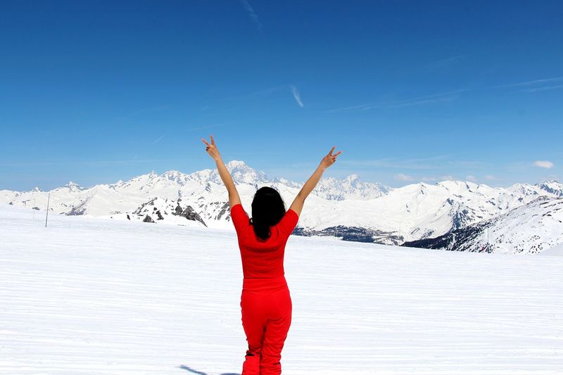 Confident Woman Happy Time Lady In Red Mont Blanc View Lady In Red Sunny Winter Human Arm Mountain Scenics - Nature Real People Women Body Part Standing