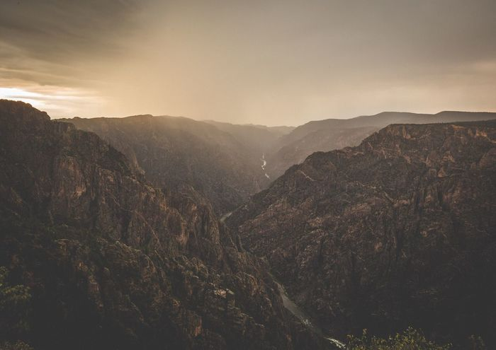 Black Canyon of the Gunnison National Park mid storm summer of 2017 Hiking Park EyeEm Best Edits EyeEm Gallery Colorado River River Sunset Silhouettes Sunset Eye4photography  EyeEm Nature Lover EyeEm Best Shots Rain Storm Colorado Photography Colorado Road Trip Black Canyon Of The Gunnison National Park Canyon Mountain Beauty In Nature Nature Mountain Range Scenics Outdoors No People Landscape Sky