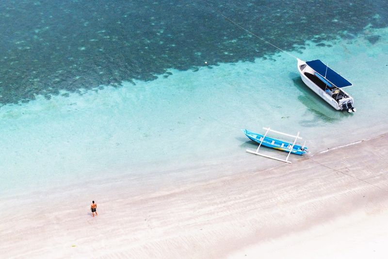 High Angle View Water Transportation Land Mode Of Transportation Sea Nature Day Vacations Beauty In Nature Nautical Vessel Beach Travel Trip Holiday