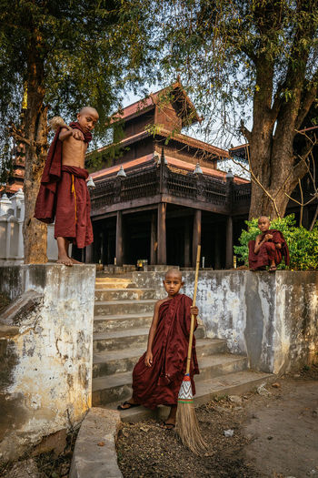 Showcase: January Three little Monks at Shwe in Bin Monastery - Mandalay, Myanmar Good Times Journey Street Photography