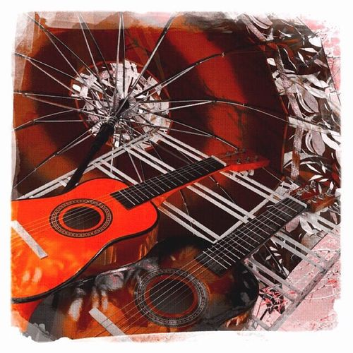 Red Music. Red Guitar Redguitar Redumbrella Umbrella☂☂ Umbrella Umbrella Revolution Guitar Love Guitarporn Hanging Out Relaxing Taking Photos Enjoying Life IPhoneography Streetphotography Street Photography Streetart