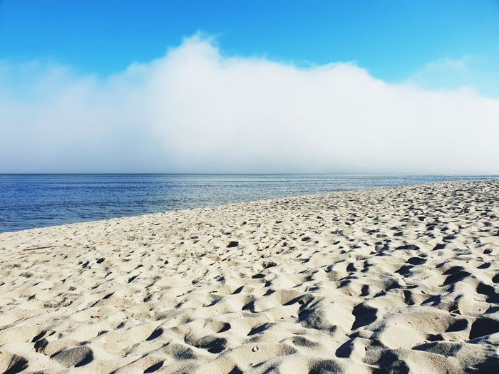 Cloud - Sky Fog Sky Sky And Clouds Sea Beach Clear Sky Water Low Tide Sand Blue Horizon Sand Dune Sunlight