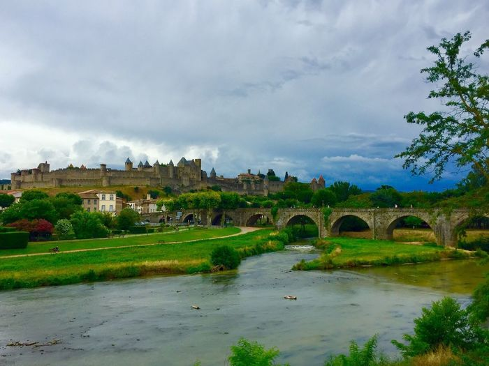 Pont Vieux Carcassonne Arch Architecture Built Structure Bridge - Man Made Structure Arch Bridge Cloud - Sky Connection Sky Water Day Tree Outdoors Transportation Nature Growth No People Building Exterior