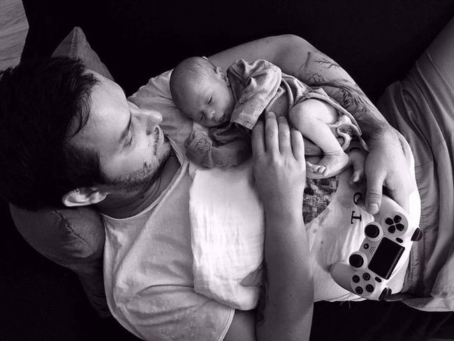 Happiness Tattoo Adult Human Hand Newborn Baby Daddy And Son