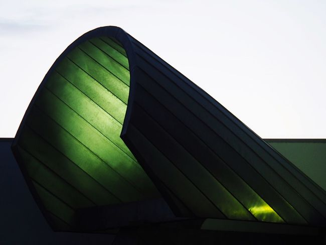 Factory Hall by Frank Gehry, 1989 Green Green Light Factory Building VitraCampus Vitradesignmuseum Vitra Factoryhall Factory Frankgehry Low Angle View Built Structure Architecture No People Clear Sky Green Color Day Outdoors Close-up