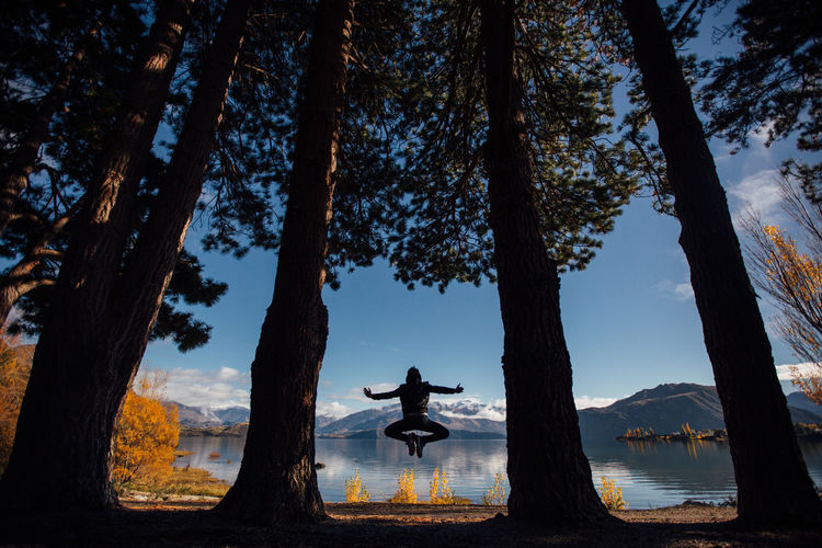 Man Jumping Amidst Trees Against Lake