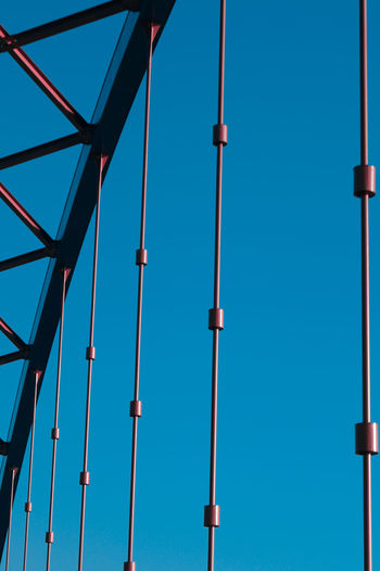 Blue Built Structure Clear Sky Connection Copy Space Day Electricity  Fuel And Power Generation Here Belongs To Me In A Row Lighting Equipment Blue Wave Metal Metallic No People Outdoors Part Of Pole Sky Street Light Technology Things I Like Urban Spring Fever The Architect - 2016 EyeEm Awards Your Design Story