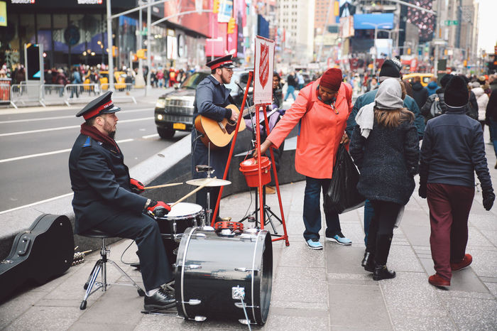 Band Manhattan Music New York New York City People Singing TimesSquare Winter