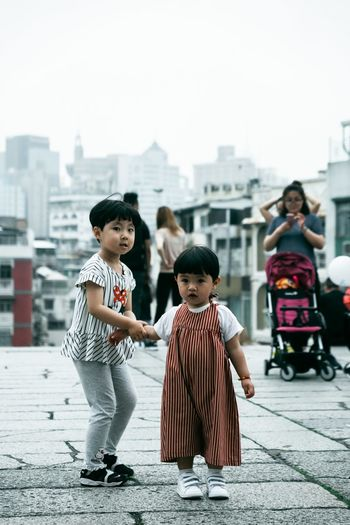 China Looufen Urban Fashion Jungle China Macau #urbanana: The Urban Playground City Child Full Length Childhood Togetherness Friendship Girls Clown Boys Sidewalk