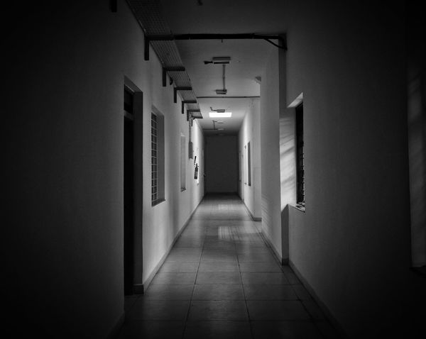 Illuminated Architecture No People Door Day Indoors  Corridor Hallway Blackandwhite Lowlight